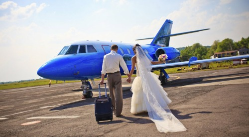 Jupiter in Libra Travel Wedding Gown Plane Blue